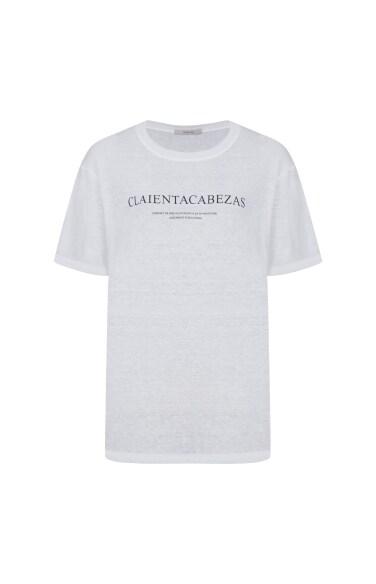 베이직 린넨 레터링 티셔츠