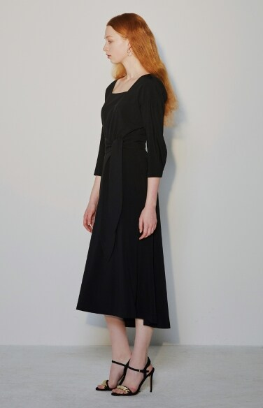 square neck black dress