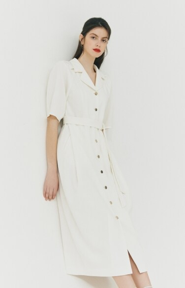 DRESS_white belted shirt dress