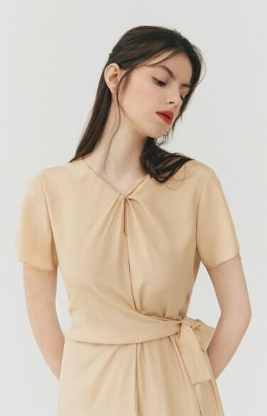 DRESS_knotted neck dress