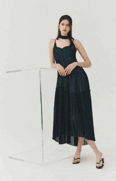 DRESS_pleated slip dress