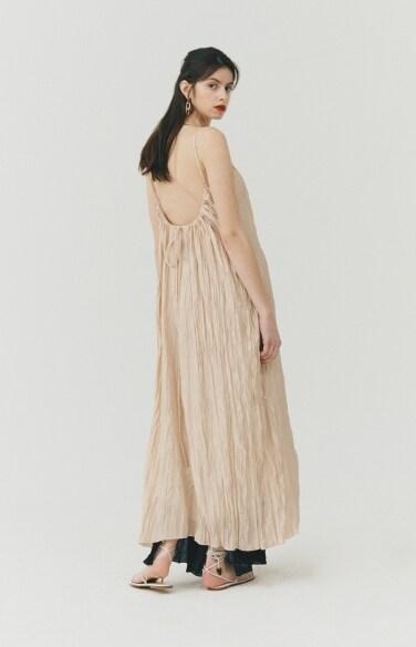 DRESS_pleated satin dress
