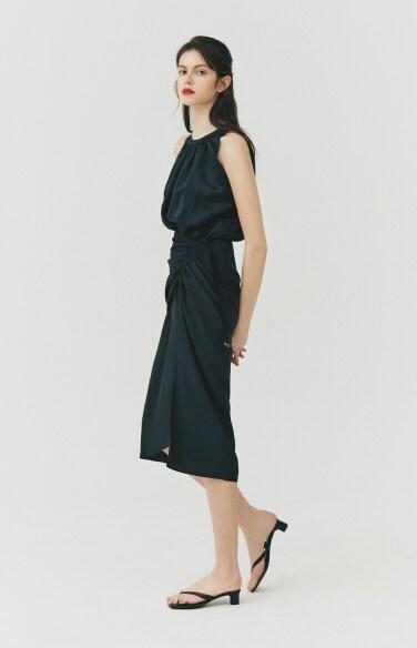 SKIRT_asymmetric shirring skirt