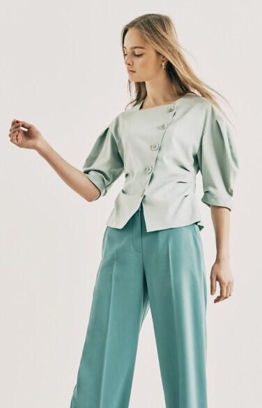 asymmetric button blouse
