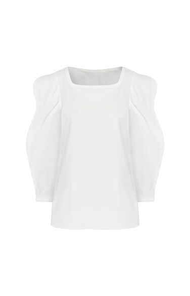 wave sleeve square blouse