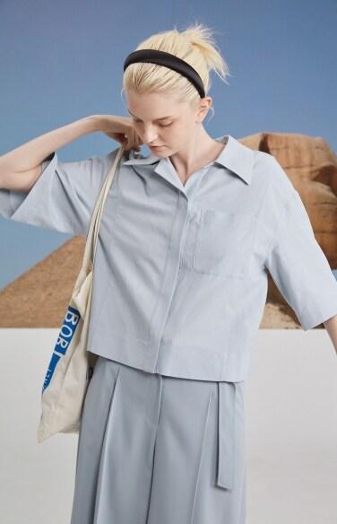 pocket crop loose shirts