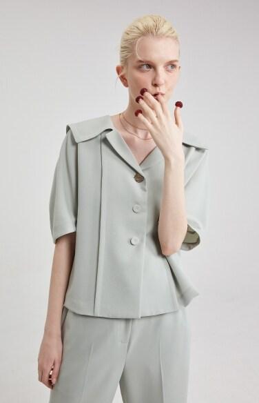 [1차 리오더] sailor collar puff blouse
