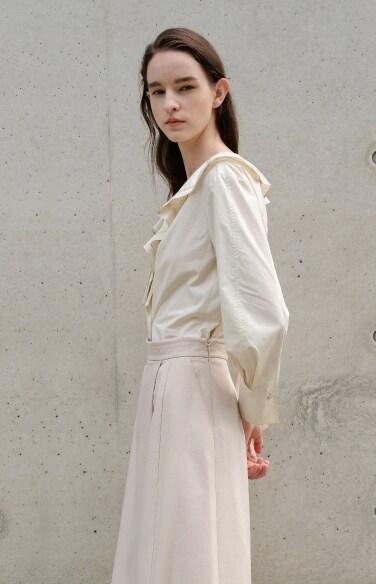 ruffle detail cotton blouse