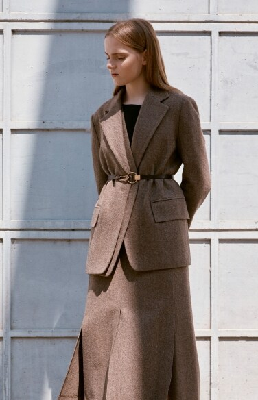 layered belted wool jacket