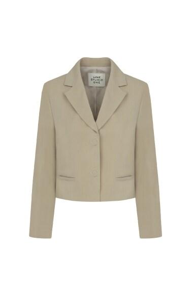hidden button crop jacket