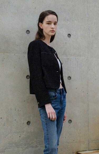 metalic cropped tweed jacket