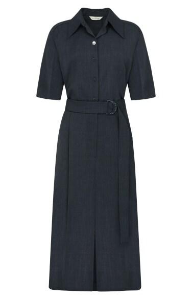 belted shirts slit dress