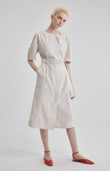 flap detail linen belted dress