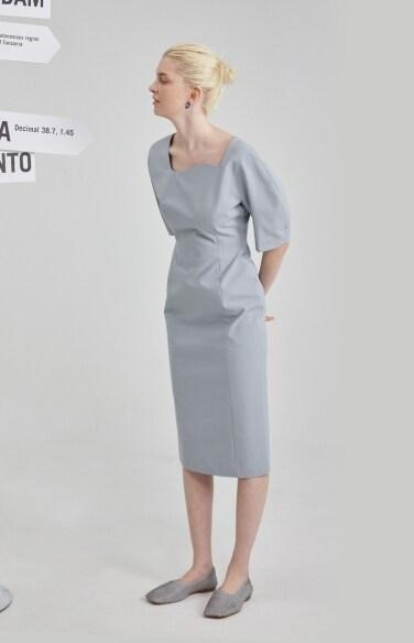 [1차 리오더-블루] wave neckline puff dress