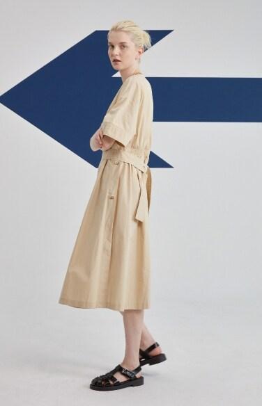 cotton v-neck belted dress