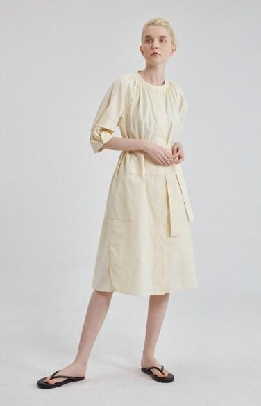 shirring belted cotton dress