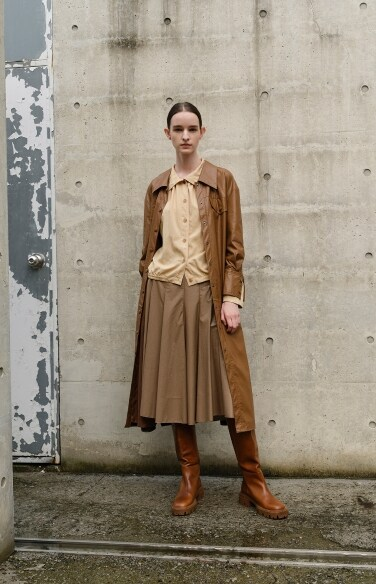 leather belted shirt dress