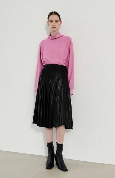 leather pintuck midi skirt