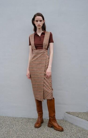check suspender wrap skirt