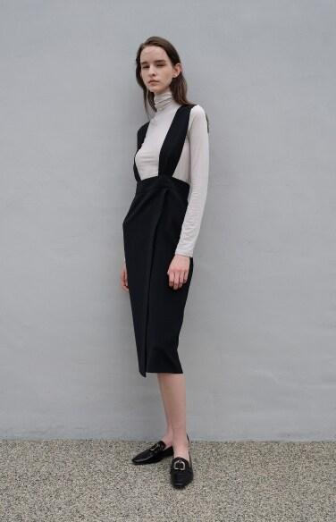 solid suspender wrap skirt