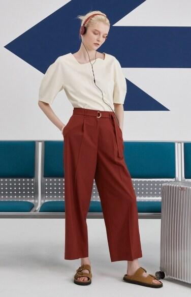 linen belted wide pants