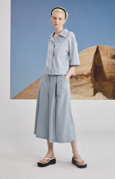 belted pintuck culotte pants