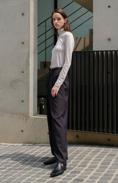 belted pintuck wide pants
