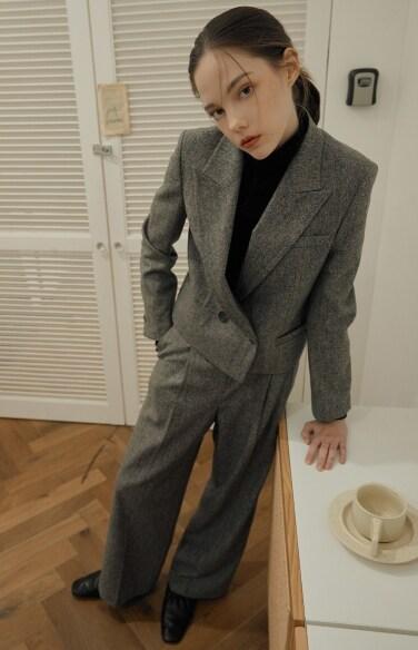 melange straight wool pants