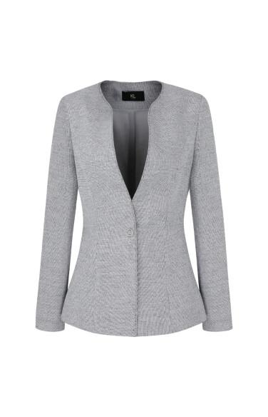 O링 장식 노카라 싱글 버튼 체크 재킷