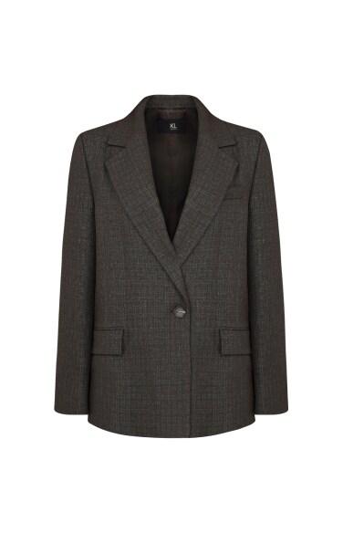 체크 싱글 버튼 재킷
