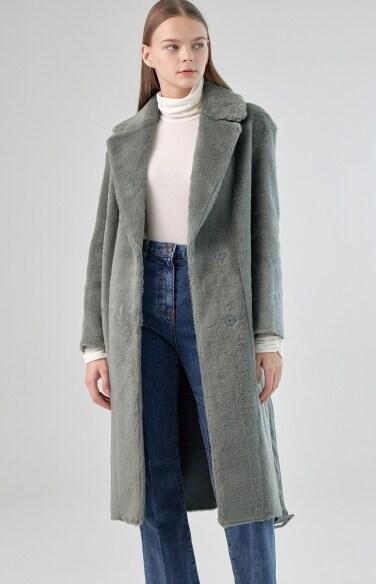 베칸 벨트 무스탕 코트
