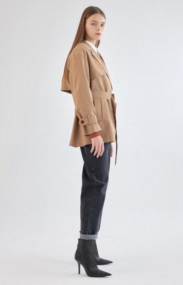 벨티드 하프 트렌치 자켓
