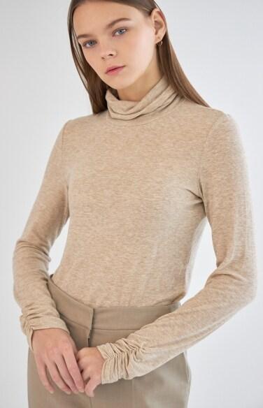 소매 셔링 폴라 티셔츠
