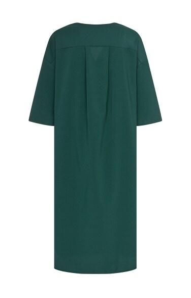 배색 블록 드레스