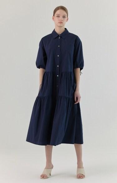 셔링 셔츠 원피스