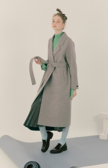 raglan hidden button half coat