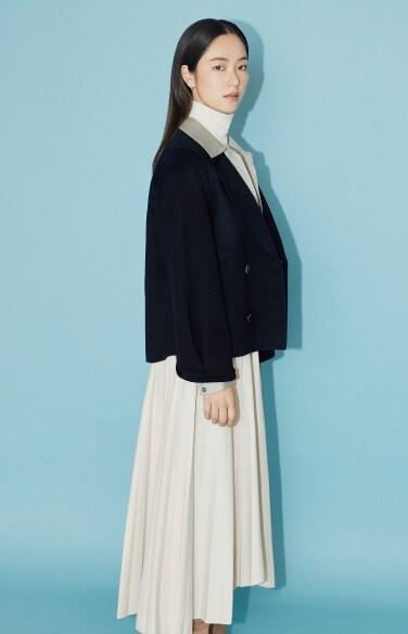 unbalance pleated midi skirt