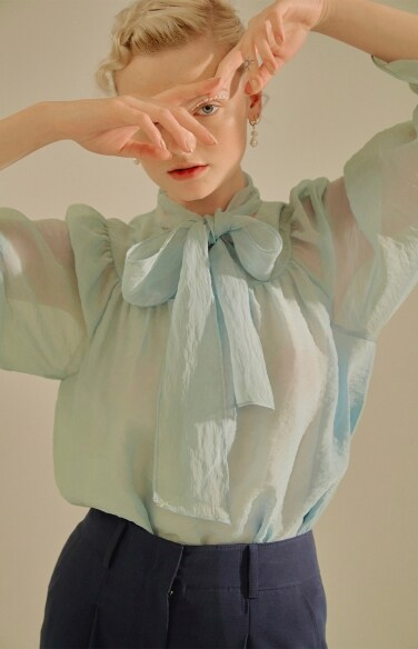 see-through tie blouse