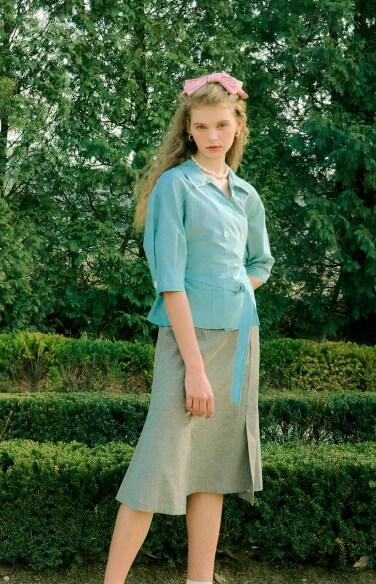 double button belted blouse