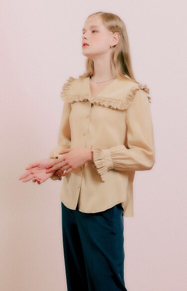 pleats sailor collar blouse