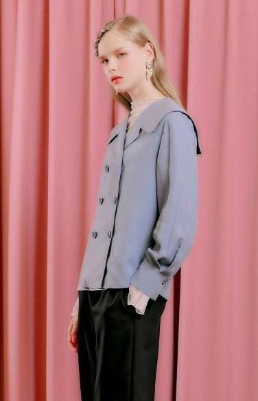 sailor collar solid blouse