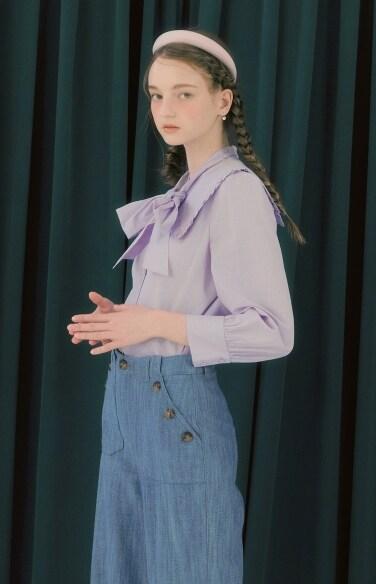 stripe sailor tie collar blouse