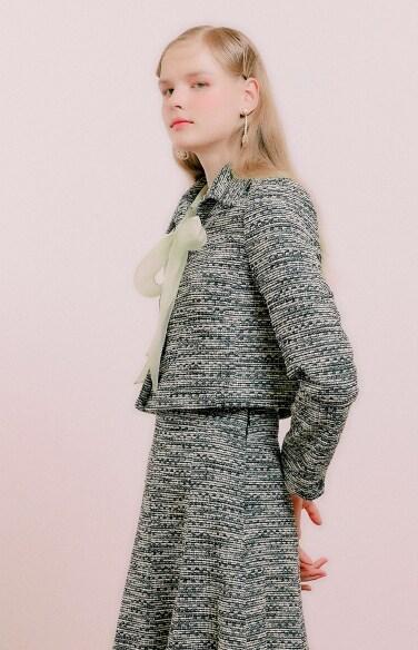 tweed pocket crop jacket