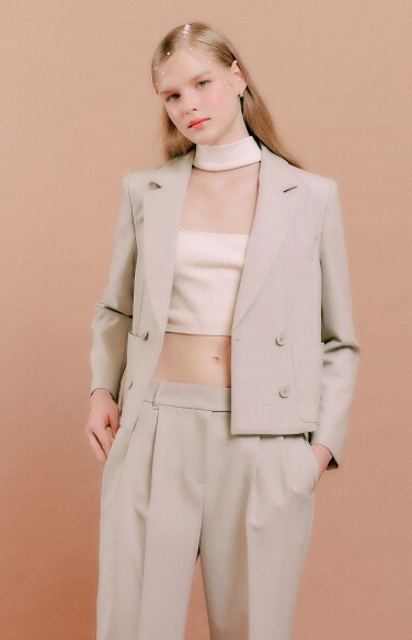 notched collar double jacket