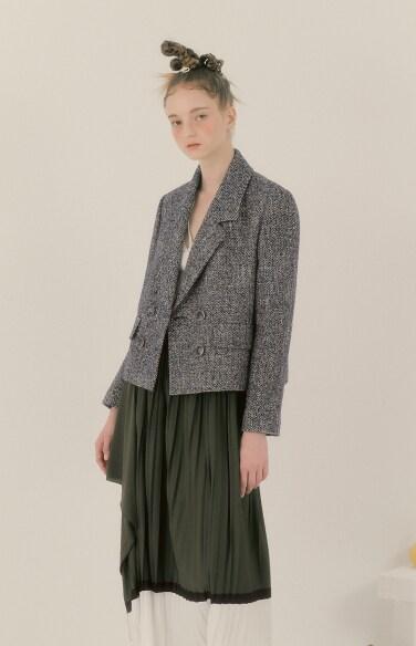 double crop tweed jacket