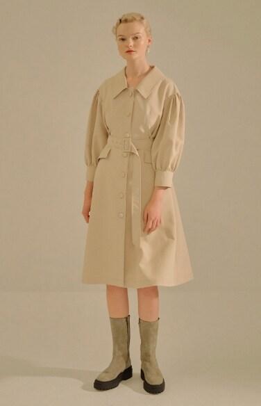 puff sleeve flare dress