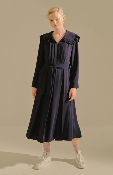 stripe pleated dress