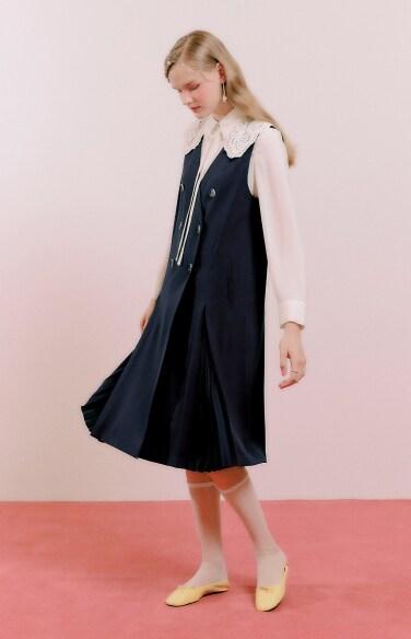 hidden pleated vest dress