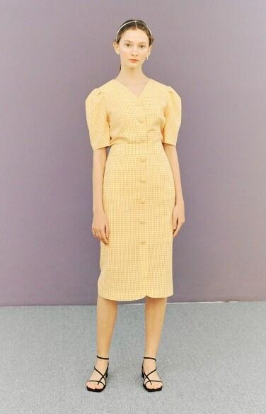 button down skirt (gingham)