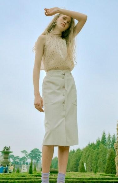 button down pocket skirt
